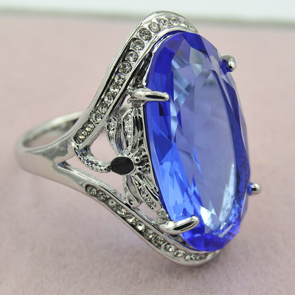 2018 new blue transparent crystal enamel ring creative ...
