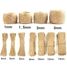 1-20 мм джутовая пеньковая верёвка, высокое качество, Ручная Веревка, натуральные поделки, декоративная бирка, веревка, завязанная джутовым рулоном, 10 м, 100 м, 200 м, украшение своими руками