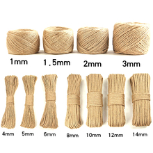 1 m 1-20mm jute hemp rope diy high quality hand rope natural thickness craft decoration tag rope tied