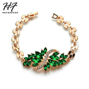 Korean Luxury 4-Colors Cubic Zirconia Alloy Feather Shaped Bracelets for Women Fashion Jewelry Gift for Girl KB213(China)