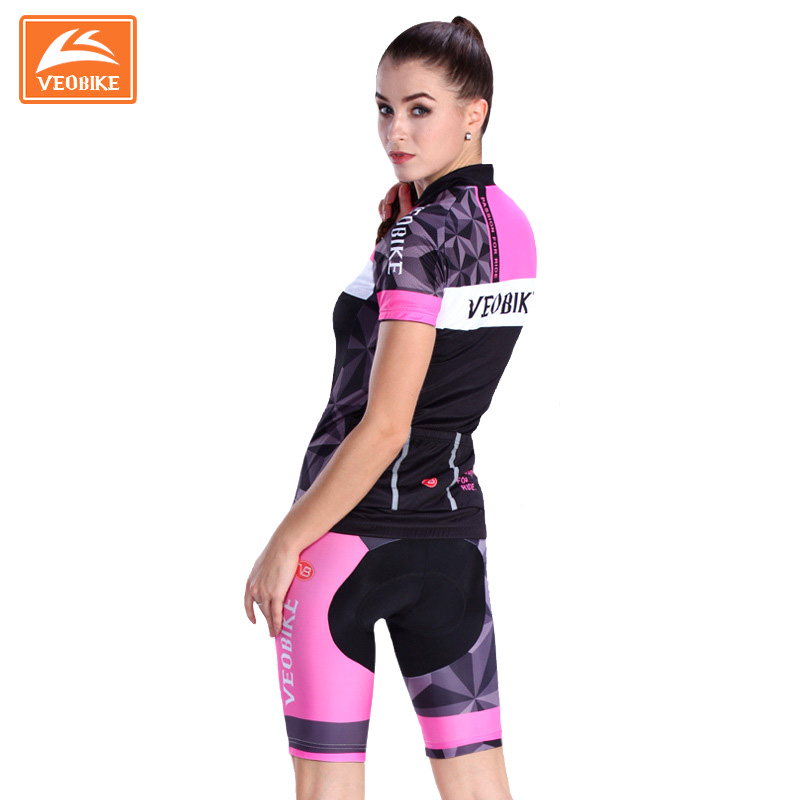 VEOBIKE 4D Summer Women Cycling MTB Short Sleeves Jersey Sets Bike Bicycle Suits Shirts Padded Cycling Short Sport Wear Uniforms  gore bike wear women s xenon lady jersey