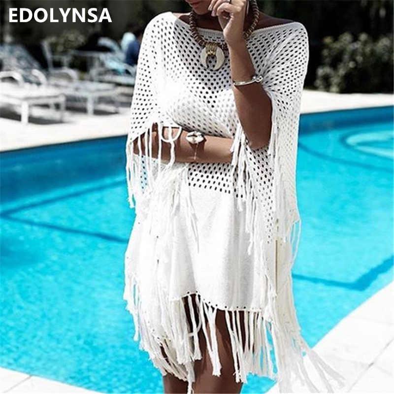 3ac9627ab8 2019 Fringed Summer Women Beach Wear Swim Suit Cover Up Bath Dress Sexy  White Crochet Tunic