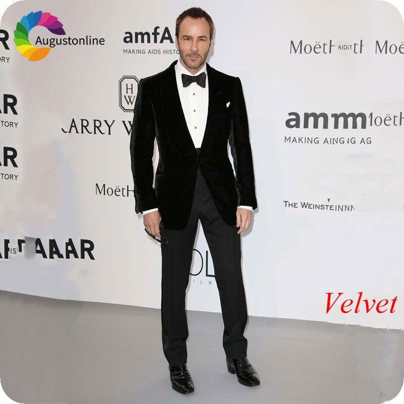 Hiver fumer veste noir hommes costumes pour mariage tapis rouge dernier manteau pantalon conceptions marié Smoking Slim Fit Terno Masculino Prom