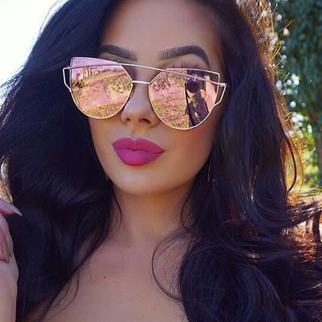 bc44b52dc TESIA Brand Cat Eye Sunglasses Women Flat Mirror Sun Glasses Female Shades  Rose Gold Designer Oculos Quality UV400 lunette