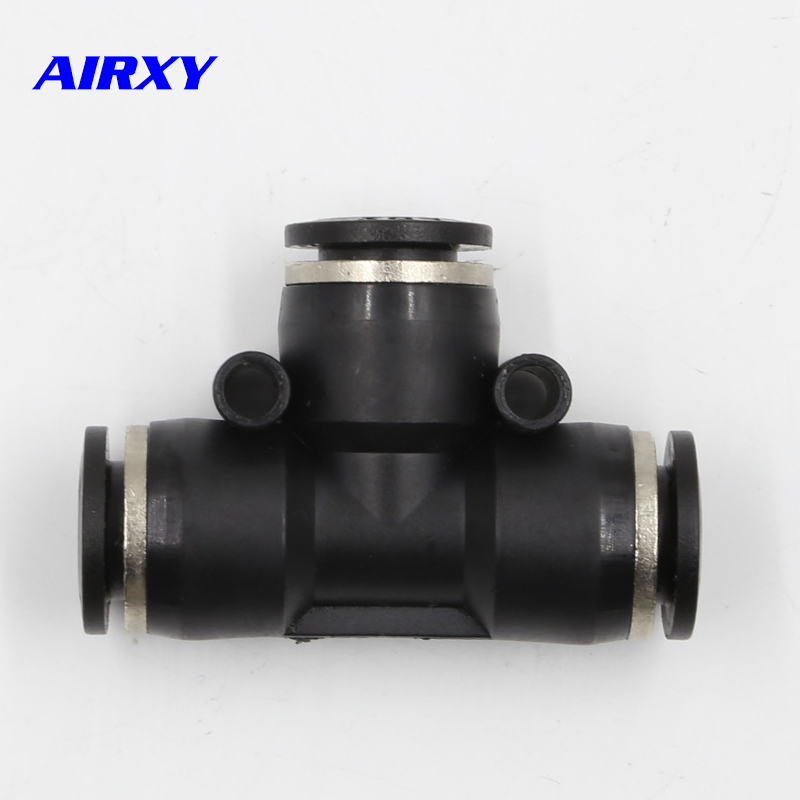 10Pcs PE Pneumatic Fitting PE4 PE6 PE8 PE10 PE12 PE14 PE16 Pneumatic 4mm to 16mm T Type One Touch Push In Quick Fittings in Pneumatic Parts from Home Improvement