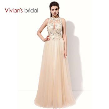 Vivian s bridal lace sequin a line evening dress sleeveless tulle prom dress long party dresses.jpg 350x350