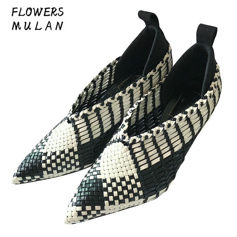 Black White Mixed Color High Heels Shoes Woman Pointed Toe Slip On Lady Pumps Woven Upper V Open Stilettos Shoes For Women slipony women 8cm high heels shoes pointed toe fashion female bow slip on lady two piece woman d orsay pumps pink beige black