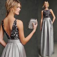 Новый hot sexy спинки кружева аппликация серебряный атласная длинное Вечернее Платье 2015 vestido де феста лонго пром платья формальные платья