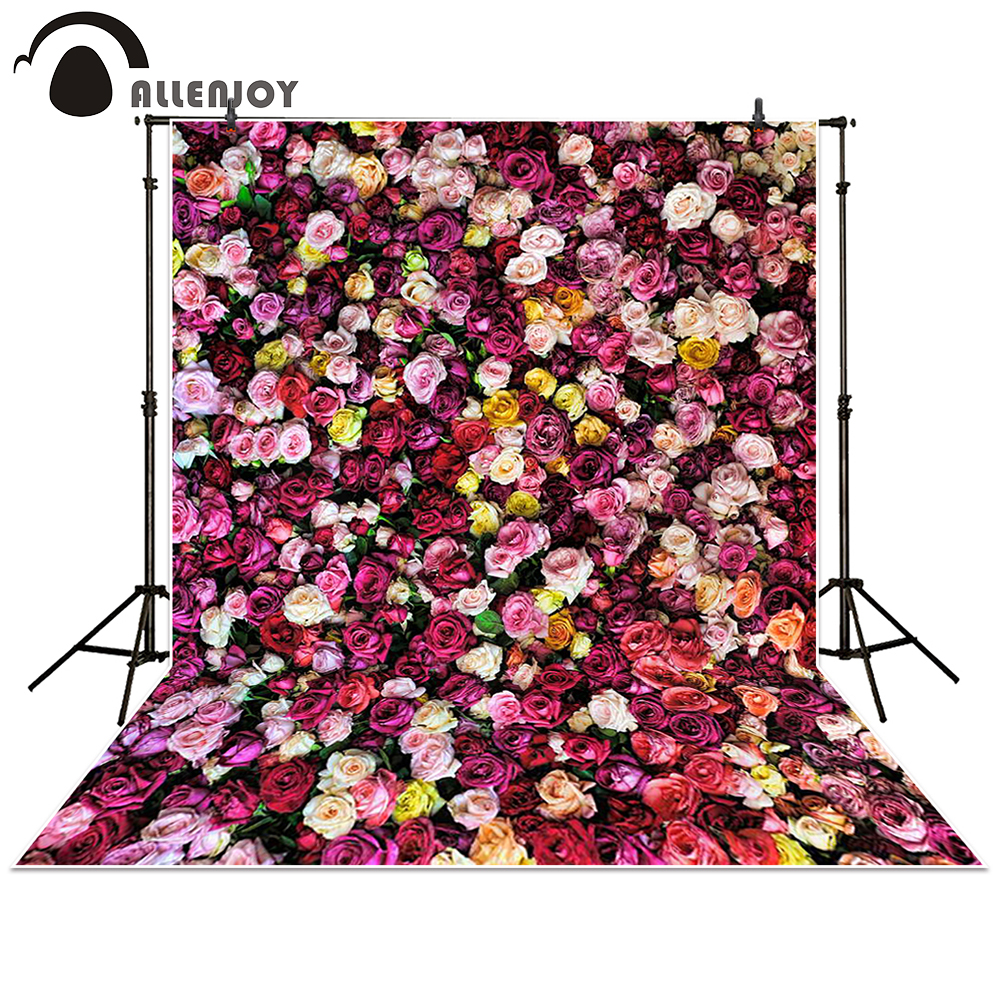 Allenjoy Photography Backdrop colorful red rose flowers wall wedding Photo studio background props photocall photobooth 130x150cm baby photo about 3d rose fabric photo blanket photography backdrop satin bridal wedding background rug