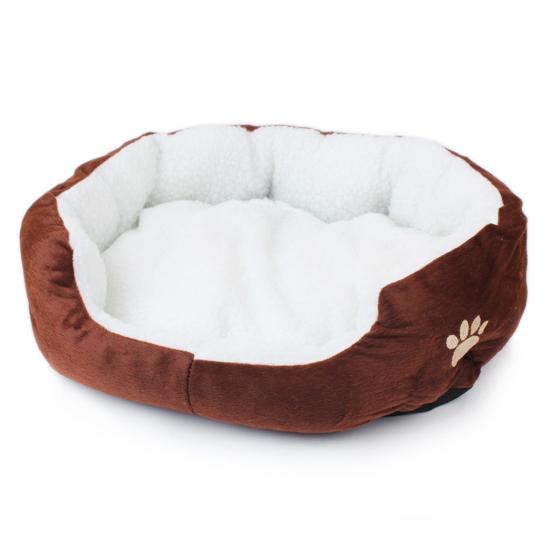 Cat Bed: Super Cute Soft Fluffy Cotton Bed Brown 2