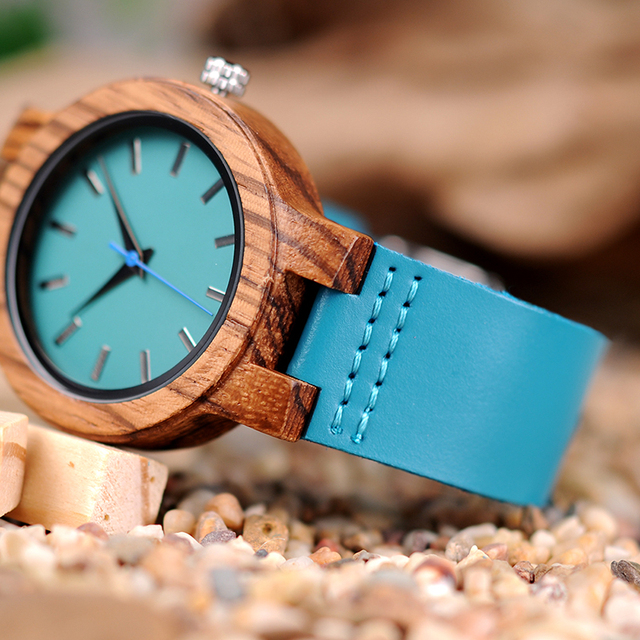 Couple Watch BOBO BIRD Zebra Wooden Genuine Leather Strap Quartz Watches Simple Blue Dial With Environmental Gift Box 4