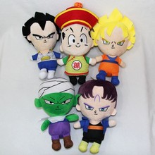 [ 5PCS/Lot ] Japanese Anime Dragon Ball Plush Toys 15cm Son Goku Gohan Vegeta Piccolo Trunks Stuffed Toys Dolls Free Shipping