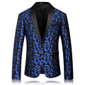 2016 New Blue Flower Men Floral Blazers Costume Homme Casual Blazer Fashion Slim Suit T0018