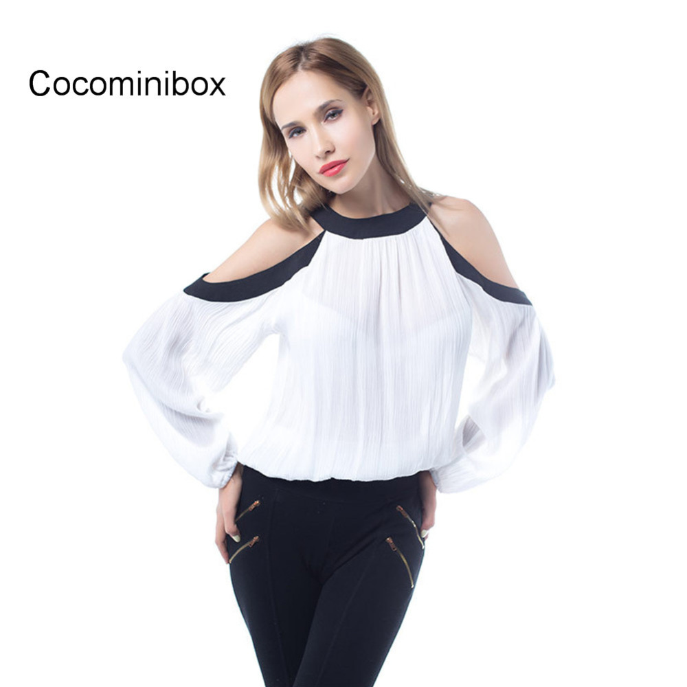 Women Casual Loose Cut Out Off Shoulder Long Sleeve Round Neck Shirt Basic Tops White