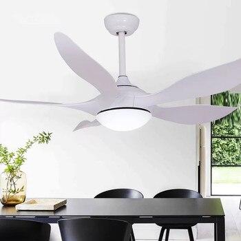 LED 52-cal Nordic retro wentylator sufitowy z lampą sypialnia home 1-6 biegów wentylator z światła zintegrowane AC110V 220 V wyciszenie za pomocą pilota zdalnego sterowania