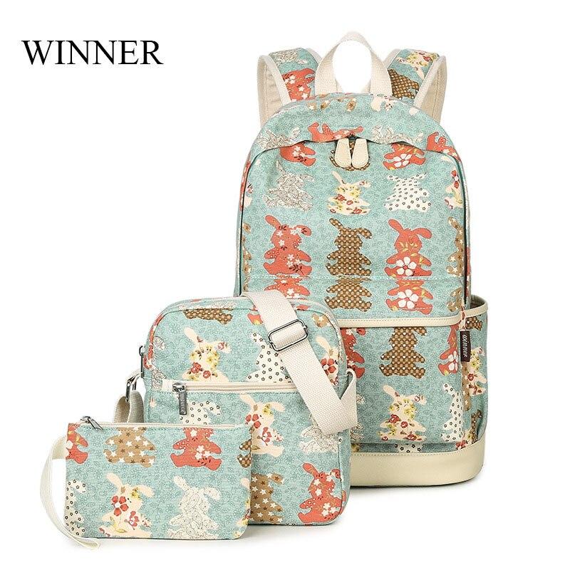 WINNER Brand Backpack 3pcs Set Rabbit Pattern Printing Backpack Cute Backpacks Female School Backpack For Teenage