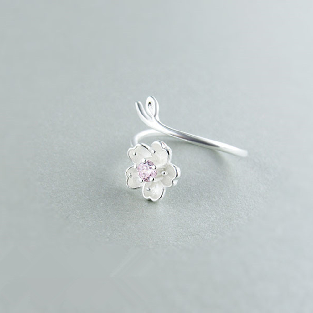 XIYANIKE-925-Sterling-Silver-Ring-Female-Cherry-Blossoms-Rings-For-Women-2017-Simple-And-Fresh-Personality