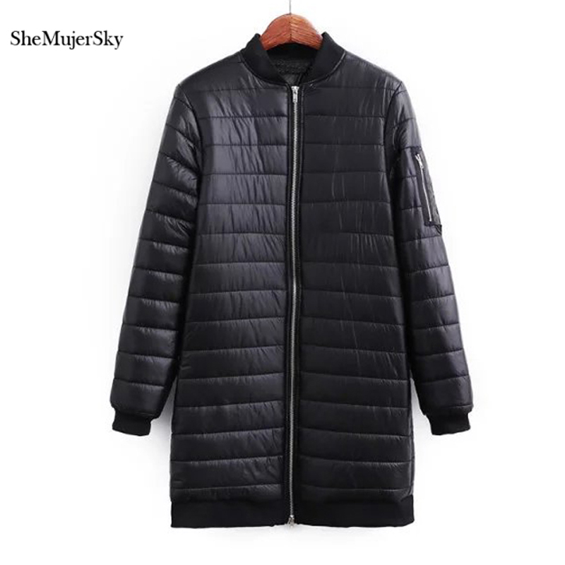 SheMujerSky Women Solid Long Coat Winter Warm Black   Parka   casacas para mujer invierno 2018