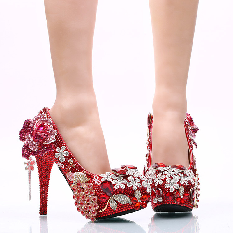 Luxurious Red Rhinestone Wedding Party Shoes Round Toe High Heel Bridal Dress Shoes Crystal Phoenix and Rose Prom Party Pumps тостер ariete 186 party time red
