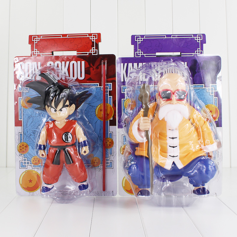 Dragon Ball Anime Master Roshi Kame Sennin Son Goku Boxed PVC Action Figure Collection Model Dolls Toys 2pcs/lot free shipping anime dragon ball master roshi pvc action figure collection model toy 25cm orange new loose