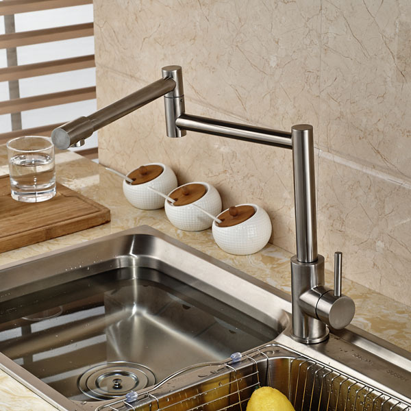 Brushed Nickel Deck Mount Folding Neck Kitchen Mixer Faucet Hot and Cold Water Kitchen Faucet