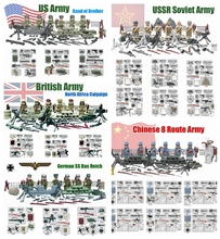 SWAT Minifigure World War 2 WW2 Military with Weapon Building Blocks Brick Toy Russian US German Army Compatible with legoeds