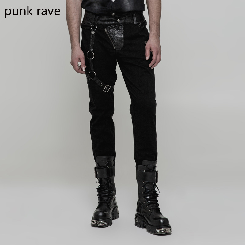 0f7e5845da696b Punk Rave Rock Black Gothic Pu Leather Steampunk Retro Personality Fashion Men's  Trousers Pants WK323-in Casual Pants from Men's Clothing on Aliexpress.com  ...