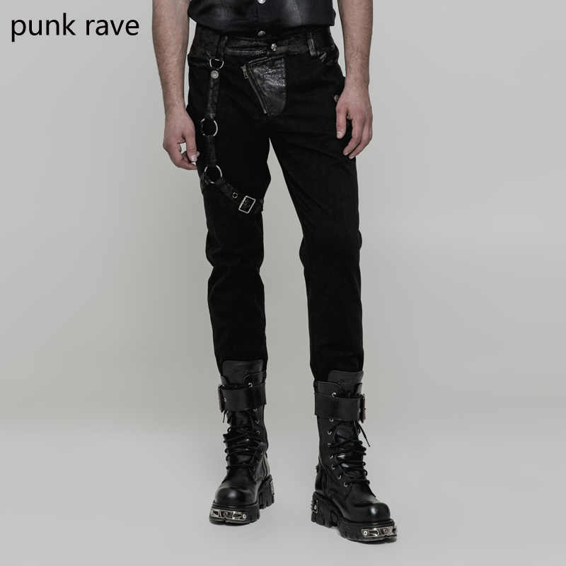 Midweight Punk Rave männer Hosen Punk Rock Schwarz PU Hosen