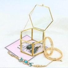Vintage Geometrical Glass Jewelry Box Retro Earring Ring Flower Plants Display Case Wedding Decor