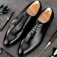 QYFCIOUFU New 2019 italian Men Dress Shoes Genuine Leather Wedding Office formal shoes Handmade fashion business Oxford Shoe