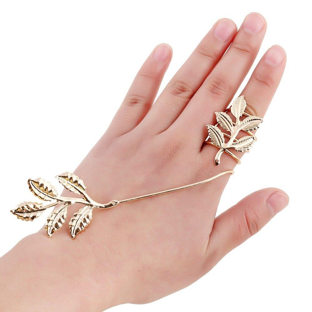 ∞Fashion Leaf Full Finger Rings for Women Gold Color Flower Double ...