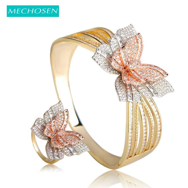 MECHOSEN 3 Tones Mixed Butterfly Bangle Ring Sets Micro Paved Cubic Zirconia Women Nigerian Wedding Naija Bridal Jewelry Sets
