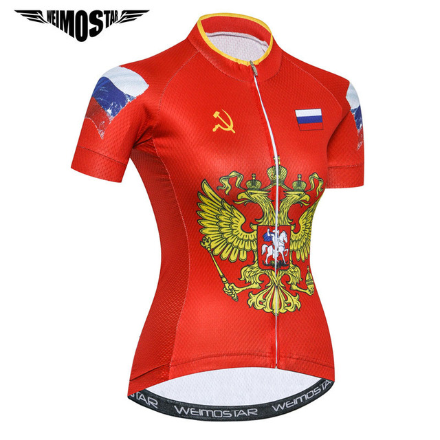 1d914aa52 Weimostar 2018 Russia Team Cycling Jersey Women Road Race Cycling Clothing  Summer MTB Bike Jersey Downhill