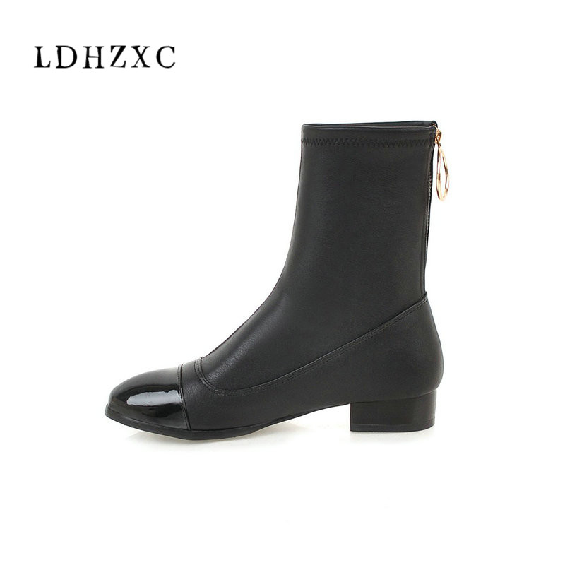 LDHZXC Women Ankle boots Pu Leather Fashion Square Heel All Match zipper Pointed Toe Women Boots Size 34-46 women s ankle boots strappy pointed toe vogue comfy all match shoes