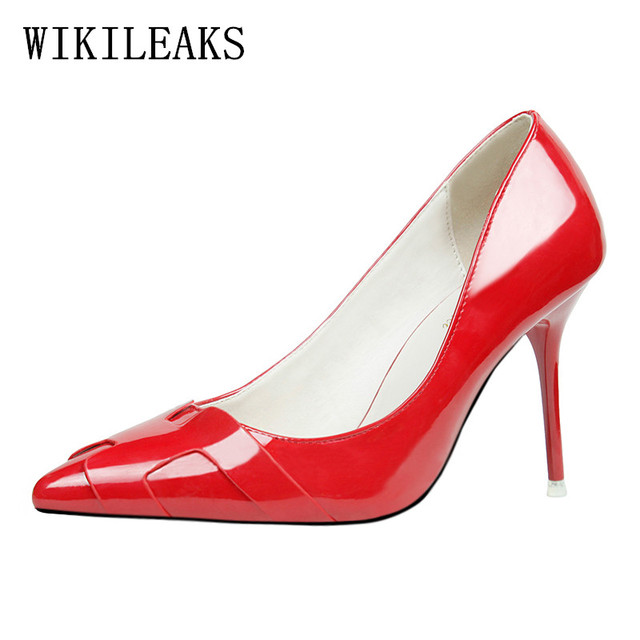 Designer Wedding Shoes Woman Stilettos Women Italian Patent Leather Luxury Brand Extreme High Heels Red