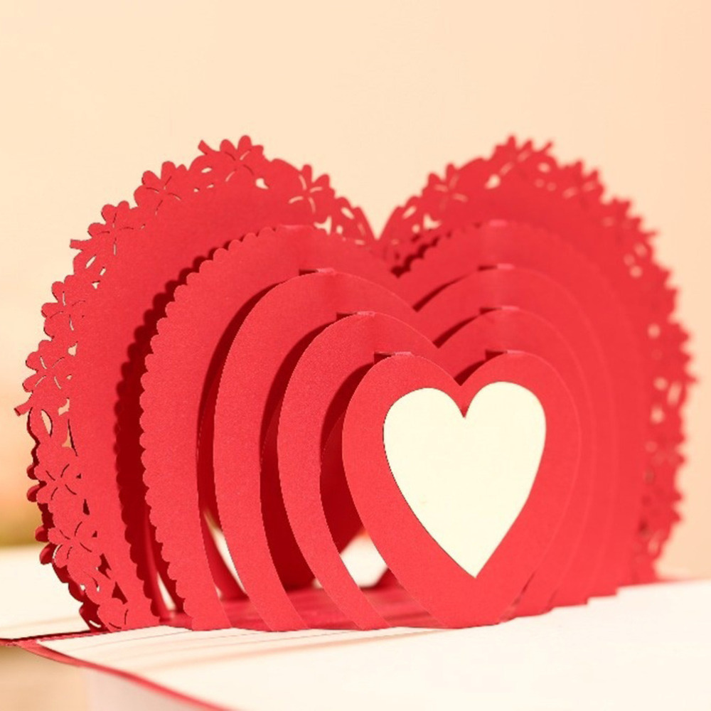 1PCS 100*150mm Laser Cut Wedding Invitations Cupid\'s Heart 3D Pop UP ...