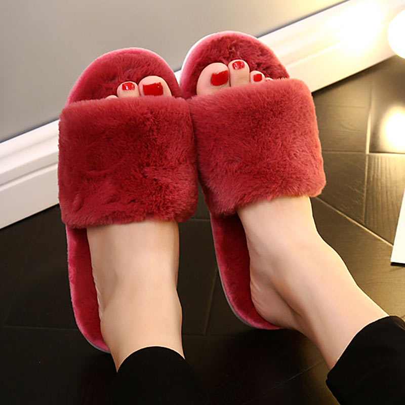 Women Slippers Fashion Plush Fur Winter Indoor Non-slip Cute Soft Cotton Slippers Female Casual Flip Flop Shoes Furry Slides 2017 hot sale women flip flop slippers female summer indoor anti slip slippers soft lightweight shoes size 36 40 available