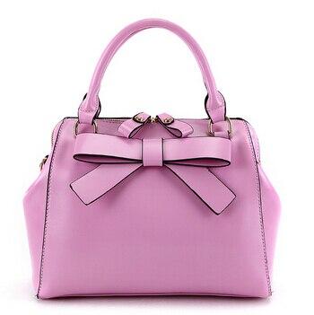 2015 Best Fashion PU Leather Women's Handbag Women Messenger Bags Sweet Bow Shoulder Bags Rivet Bolsas Free Shipping WBG1028