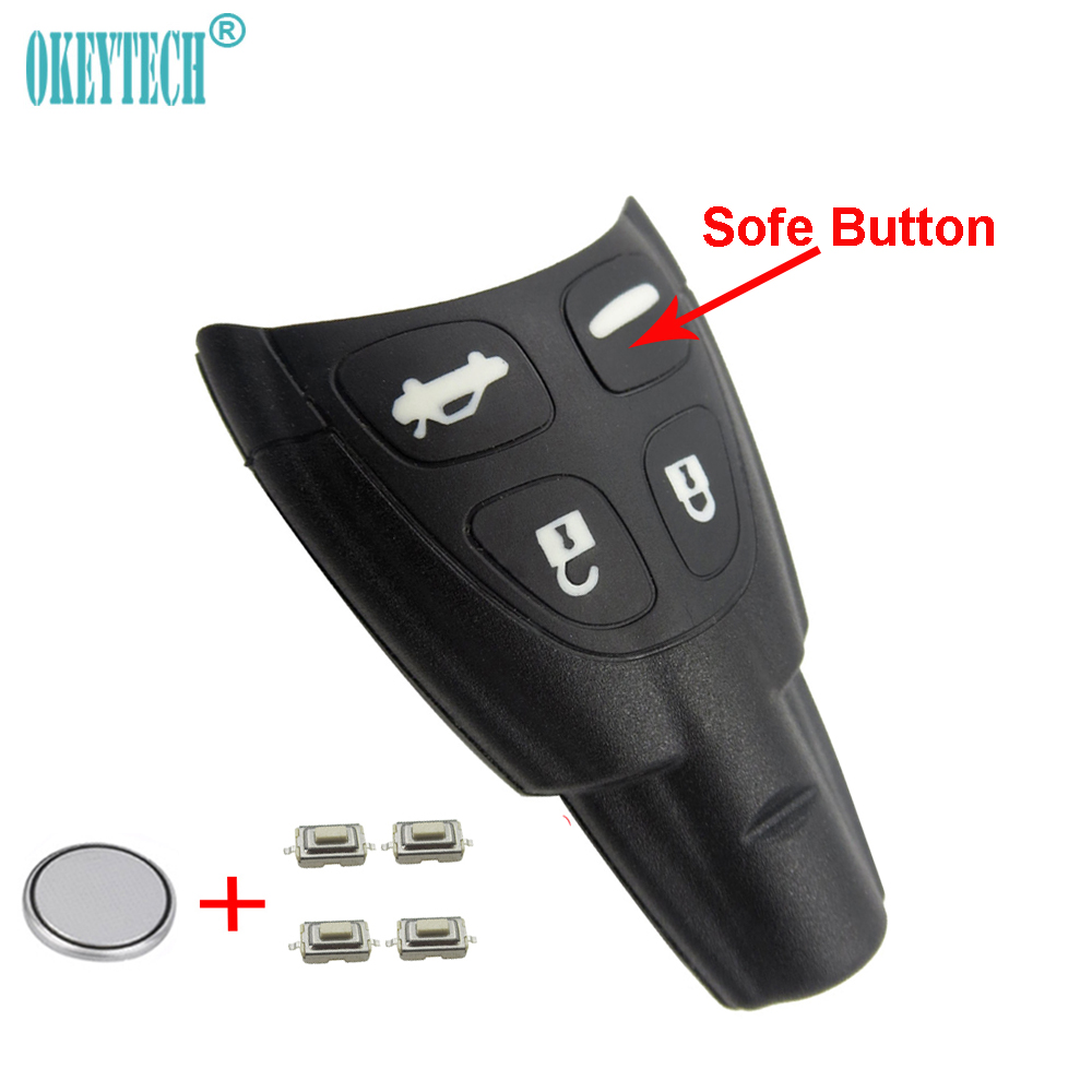 uxcell 4 Buttons Remote Key Shell Case Cover Control Fob Replacement Fit for Saab 93-95