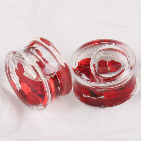 US $55 8 |Acrylic Red Liquid Blood Filled Resin Double Flare Plug High  Quality Piercing Jewelry mix 8 18mm 120pcs-in Body Jewelry from Jewelry &
