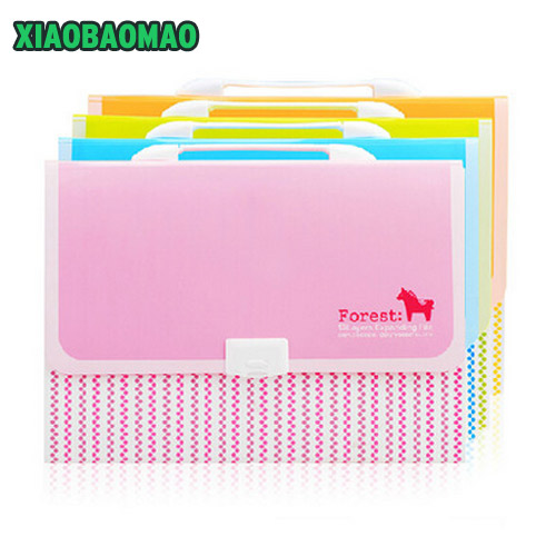 32.8X25cm 13 layer Hand-held Poly Expanding File Folder Organ Bag A4 Organizer Paper Holder Document Folder School Supplies candy color clipboards a4 notes folder write sub plate wordpad stationery clip file paper file folder holder school supplies