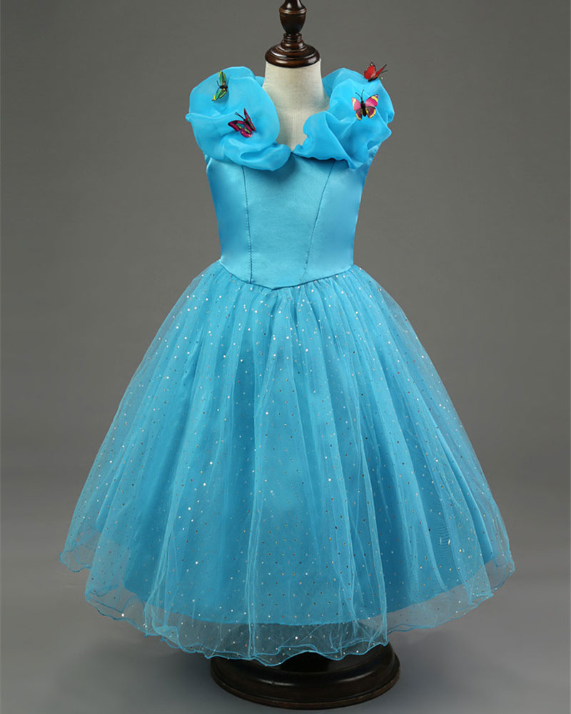 Fairy tale kids lovely girls cinderella dress blue color butterfly fairy tale kids lovely girls cinderella dress blue color butterfly pattern princess cosplay dress cinderella party dress dance in dresses from mother kids ombrellifo Images