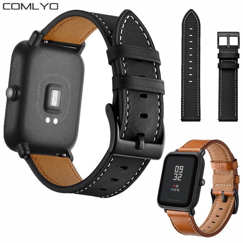 New Arrival Black Buckle Leather Strap For Xiaomi Huami Amazfit Bip Bit Sport Smart Watch Band