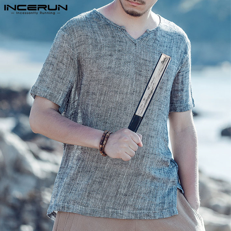 INCERUN 2018 Chinese Style Men T Shirt V-Neck Short Sleeve Cotton Casual Tee Tops Vintage Soft T-shirt Camisetas Hombre S-3XL