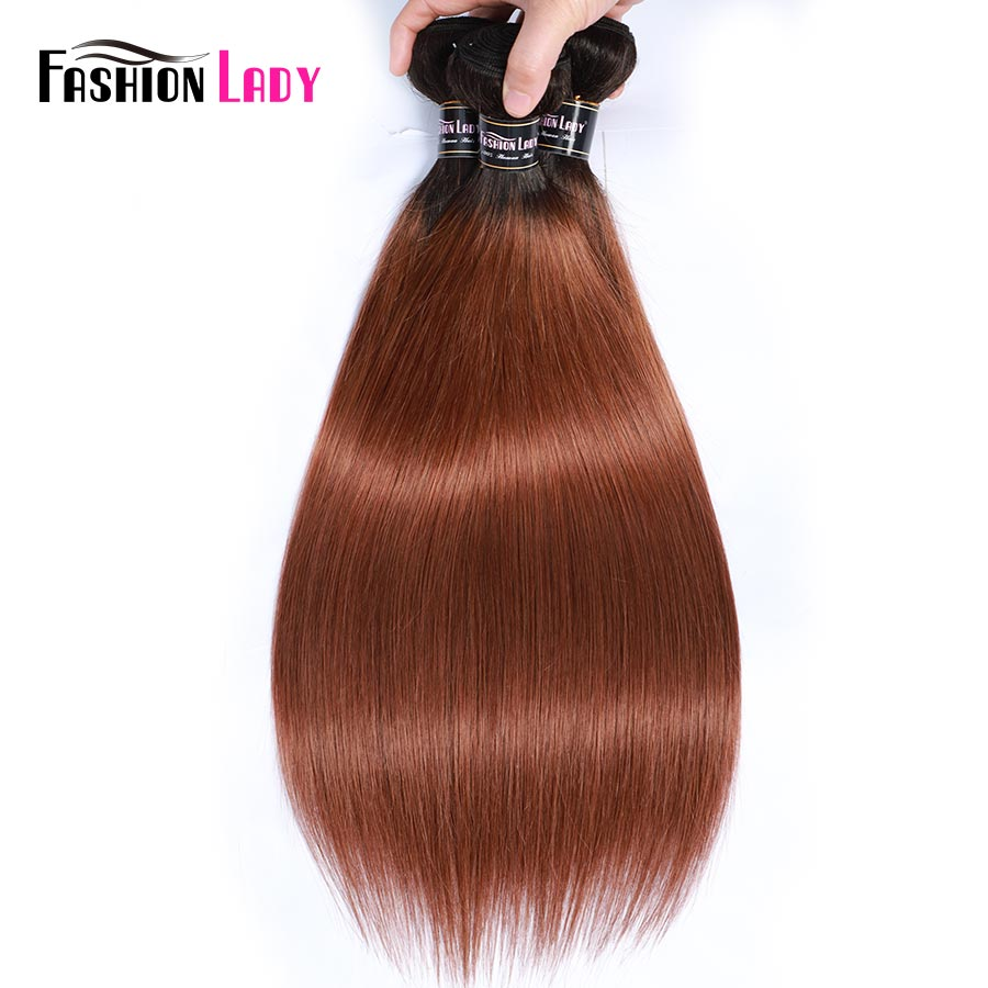 Fashion Lady Ombre Brazilian Hair 3 Bundles With Lace Closure 1B/30 Straight Weave Human Hair Bundles With Closure Non-Remy