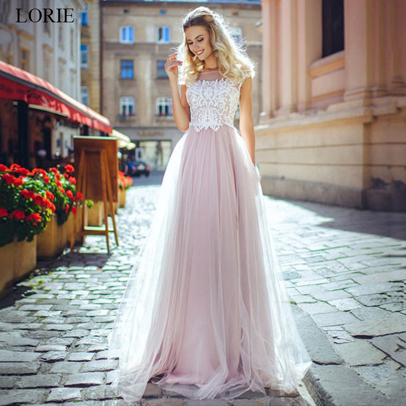 LORIE Pink Wedding Dresses 2019 A Line Tulle Wedding Gowns Lace Appliqued Vestido De Novia Backless