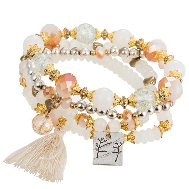4d55733813 HOCOLE 4PCS Set Bracelet Chakra Bracelets Women Boho Tassel Jewelry Natural  Stone Beads Bohemian Handmade Love Heart Meditation