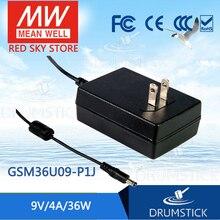 цена на [XIV] Hot! MEAN WELL original GSM36U09-P1J 9V 4A meanwell GSM36U 9V 36W AC-DC High Reliability Medical Adaptor