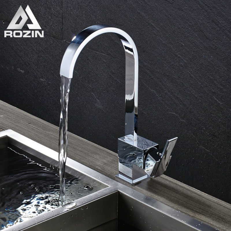 Free Shipping Brass Kitchen Faucet Single Lever Chrome Bathroom Kitchen Hot and Cold Taps 360 Rotate
