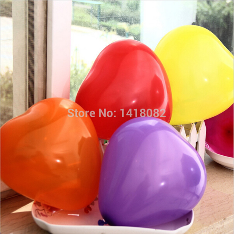 2.0g Best quality 100pcs/lot Latex balloons heart shaped Thickening  Wedding supplies Party Birthday balloon free shipping
